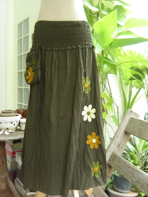 Nothing to Worry About Long Skirt II - Dark Olive