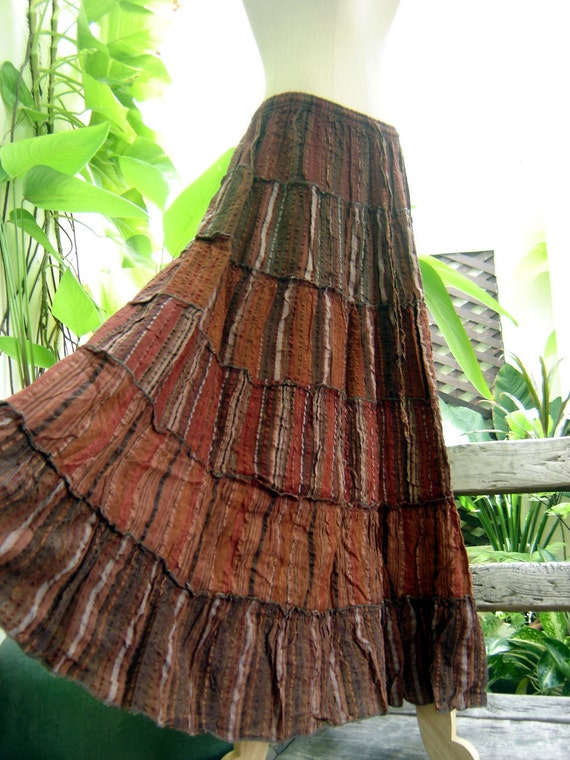Woven Dyed Cotton Long Tiered Skirt - Brick Brown