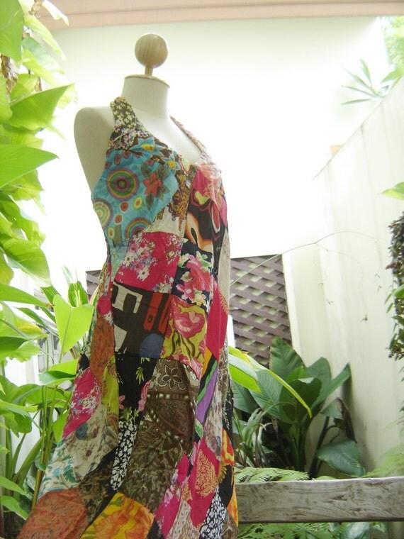 Patchwork Halter Back Smocked Maxi Cotton Dress - OM910