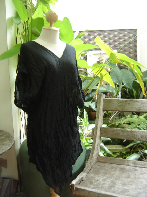 V Cotton Long Blouse - Black