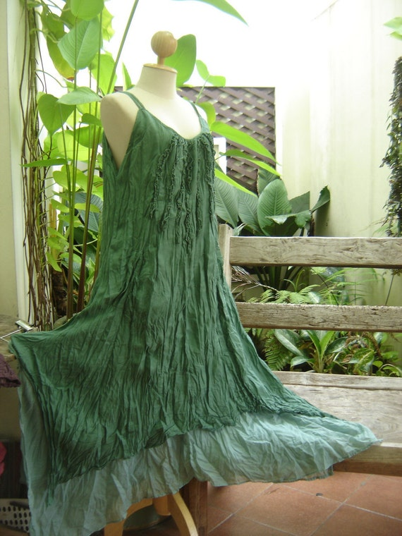 RESERVED for Caroline - L-XL Double Layers Maxi Cotton Dress - Soft Green