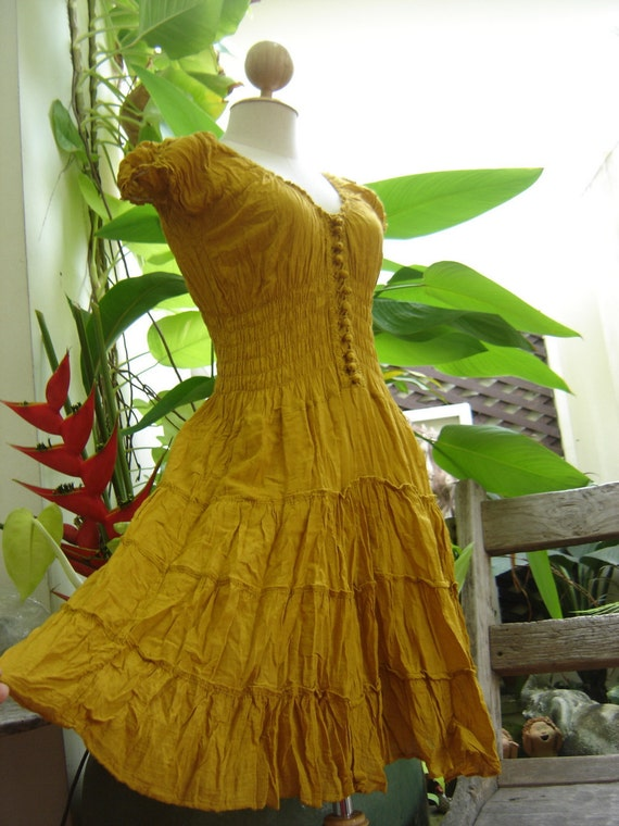 Princess Cotton Short Dress - Yellow Mustard