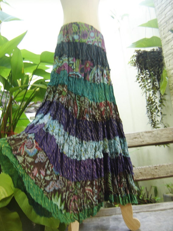 ARIEL ON EARTH - Patchwork Dyed Cotton Long Tiered Skirt - B0102