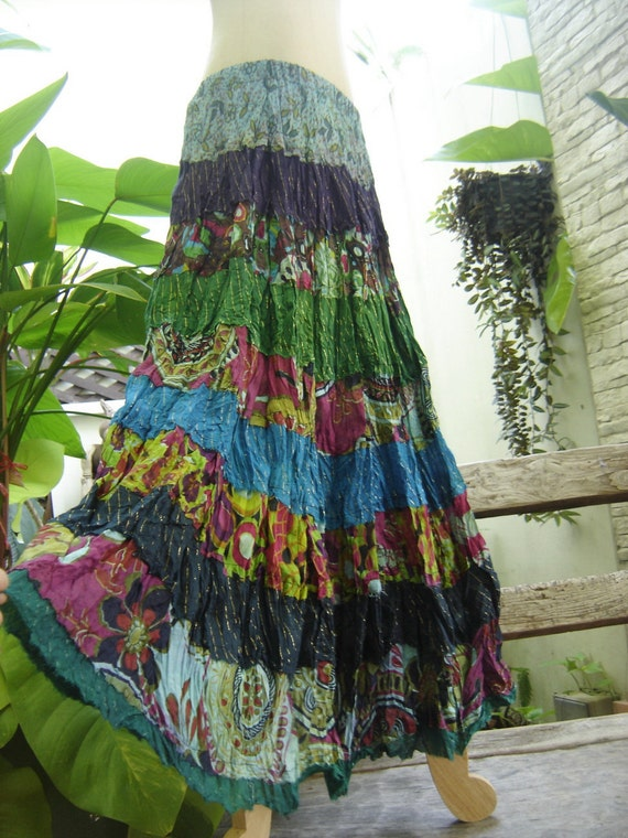 ARIEL ON EARTH - Patchwork Dyed Cotton Long Tiered Skirt - B0106