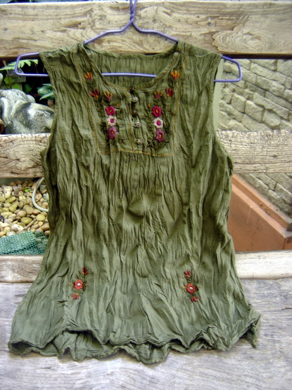 Sleeveless Bohemian Embroidered Top in Dark Olive