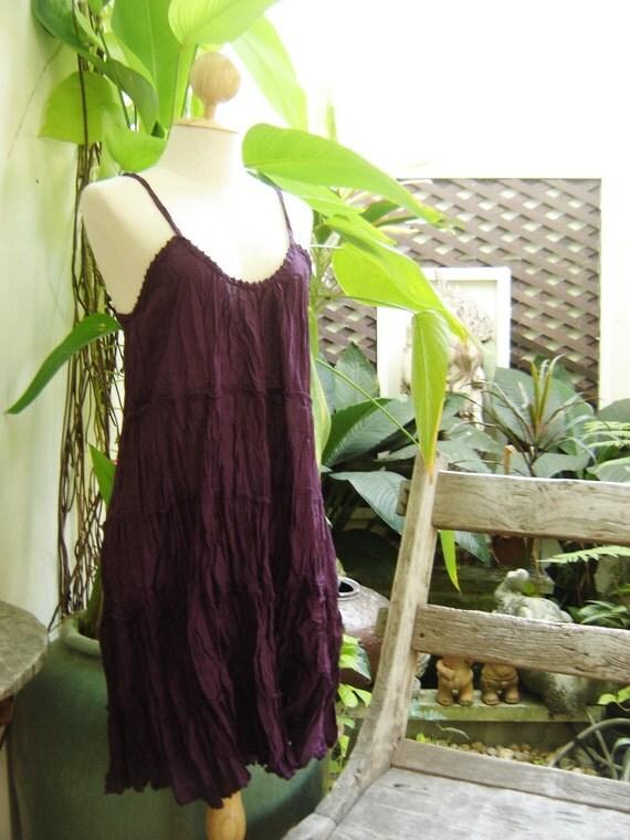 Summer Short Cotton Dress - Dark Purple