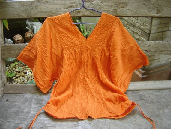 Thai Simply Loose Fit Cotton V Blouse - Orange