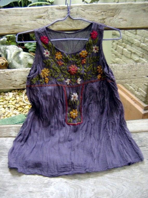 Sleeveless Bohemian Embroidered Top in Dark Purple