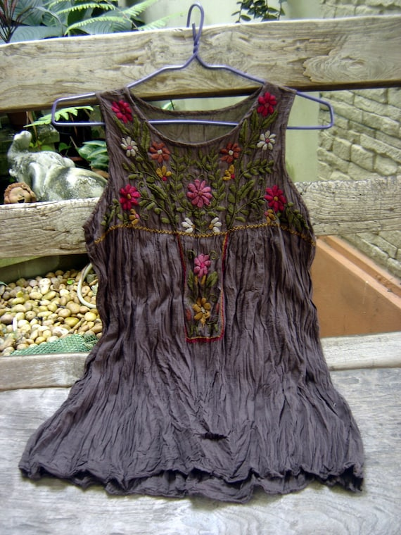 Sleeveless Bohemian Embroidered Top in Choc Brown