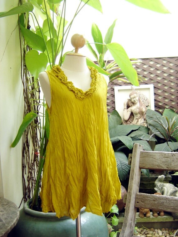 RESERVED for Tasha - Scoop Frills Neckline Cotton Top - Mustard Yellow