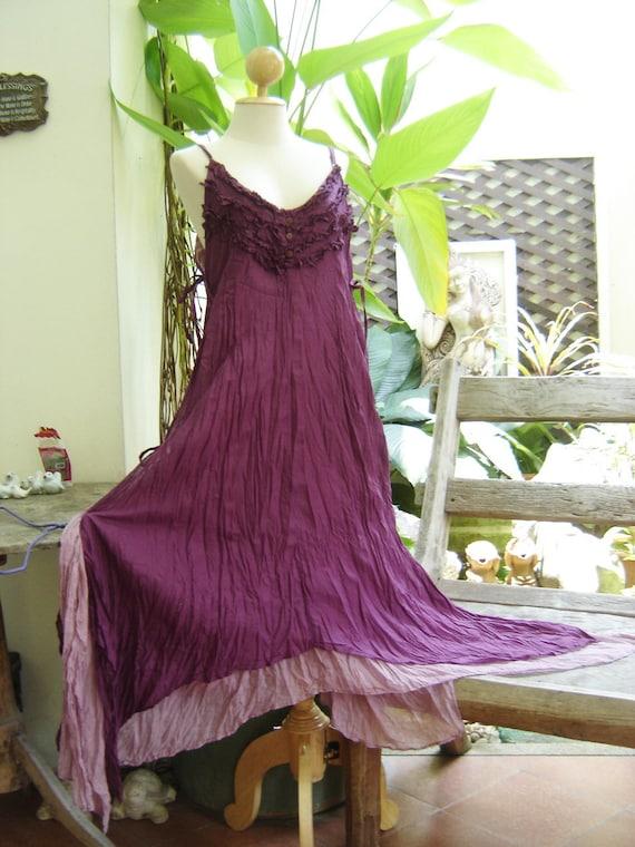Double Layers Maxi Cotton Dress III - Purple