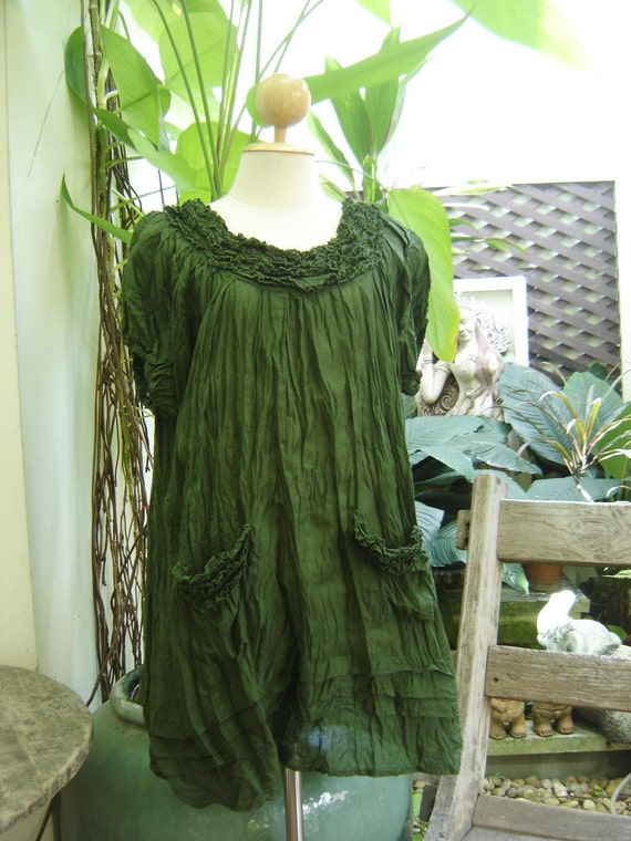 Lovely Cotton Blouse - Olive Green