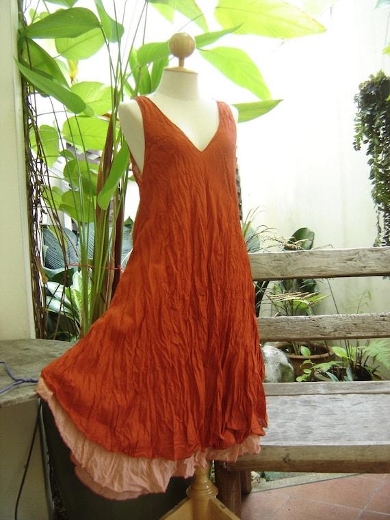 M-XL Double Layers Cotton Dress - Brick Orange