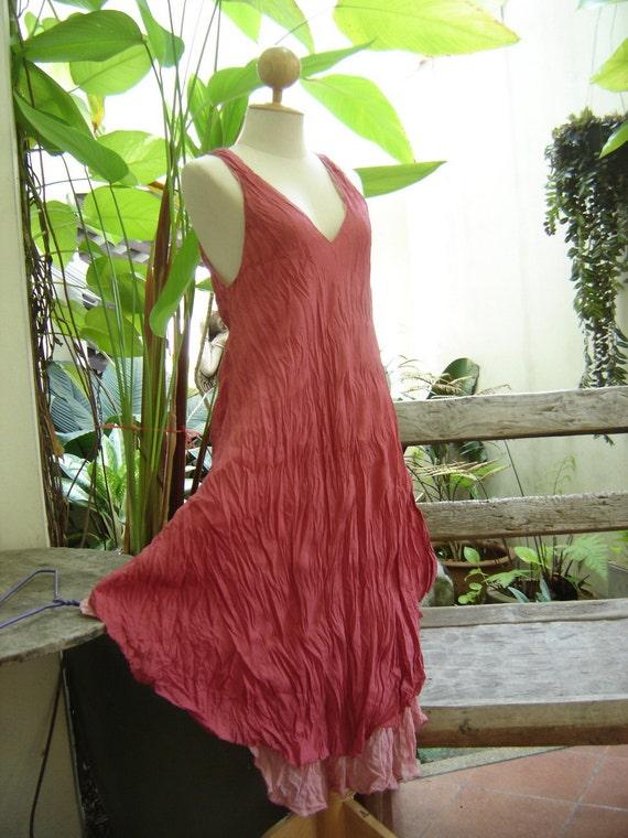 M-XL Double Layers Cotton Dress - Blush Pink