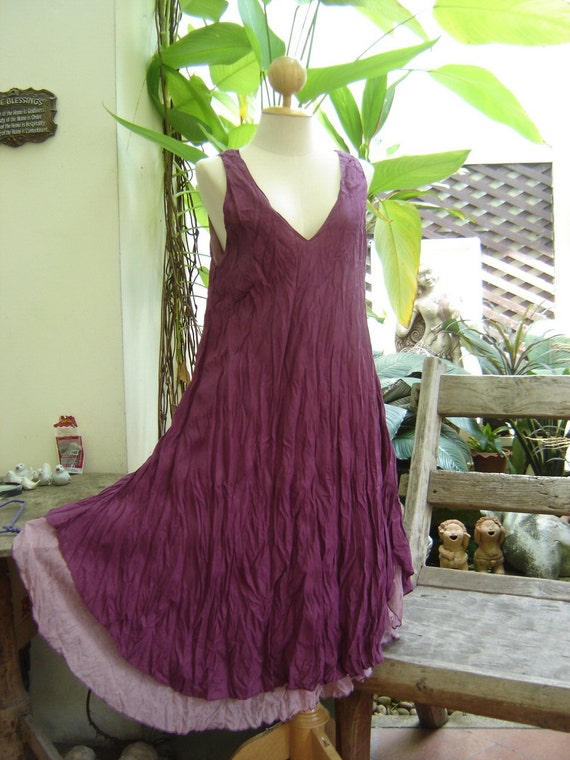 M-XL Double Layers Cotton Dress - Dark Purple