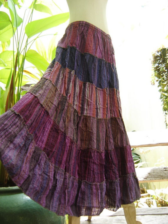 Woven Dyed Cotton Long Tiered Skirt - PP0501