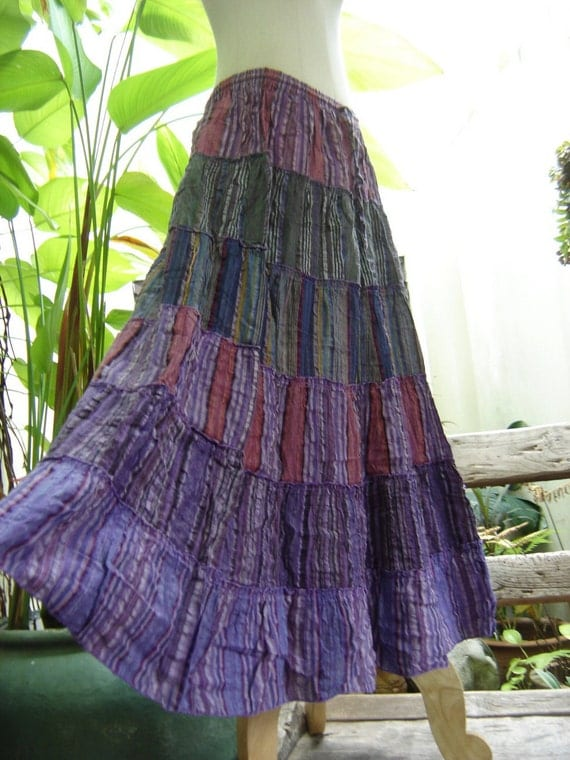 Woven Dyed Cotton Long Tiered Skirt - PP0502