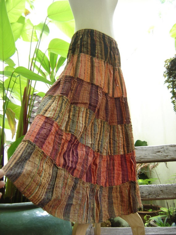 Woven Dyed Cotton Long Tiered Skirt - OR0603