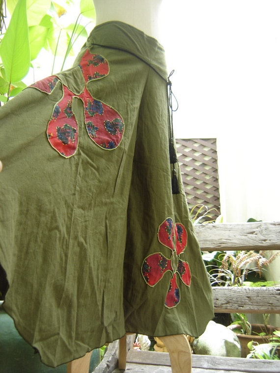 Wide Leg Pants - Olive Green Cotton with Stitched Cotton Flowers - FW0601