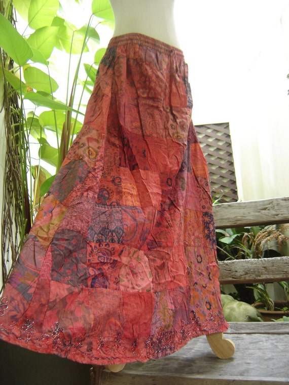 Soft Dyed Cotton Patchwork Boho Skirt - elastic waist PWK-0602