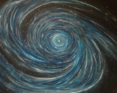 Huge Original Abstract Art Space Painting Nebula Black Blue Silver White