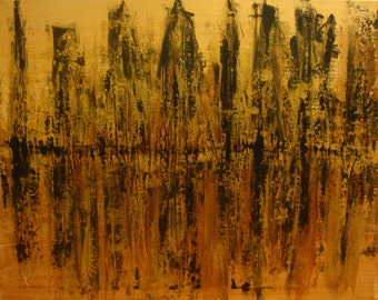 Original Cityscape Gold Abstract Painting Art Copper Black Sale