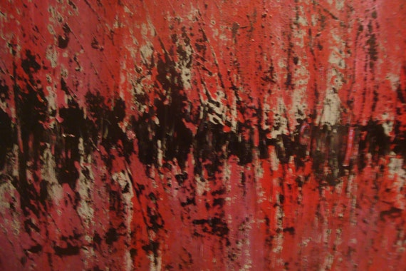 Original Abstract Painting Black Red Pink Burgundy Gray Palette Knife Texture