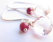 15% OFF, Pink Mystic Quartz, Ruby, Sterling Silver Earrings, Gioia by misluo
