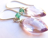 Pink Amethyst onyx sterling silver earrings, Gioia by misluo