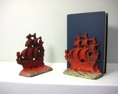 Vintage Bookends, Cast Iron Ship Book Ends or Door Stoppers, Heavy Red Boat Nautical Decor