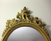 Vintage Wall Mirror, Ornate Gold Mirrored Wall Plaque, Detailed Metallic Hollywood Regency Boudoir Decor