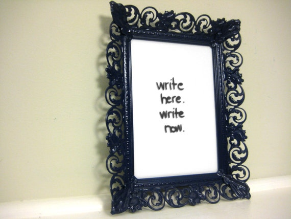 Vintage Frame or Dry Erase Board Sign in Navy Blue, Metal Scroll Detail, by saltcityspice