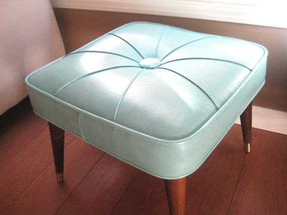 Mid Century Modern Ottoman, Babcock Phillips Stool - Aqua Blue Vinyl & Wood, Vintage 1950s Furniture