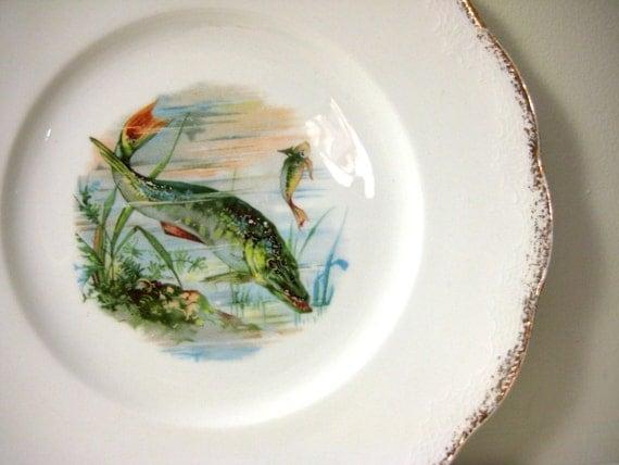 Unusual Antique Fish Plate, Homer Laughlin Angelus, Pike Plate Wall Decor, Altered Art, Fishing, Fisherman Decor For Him, Men, Fisherman