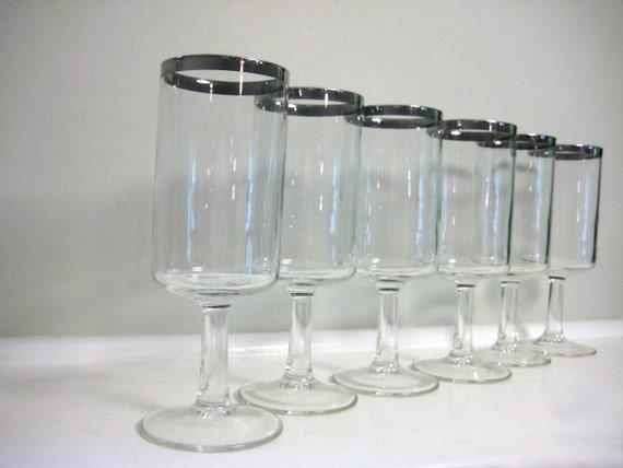 Silver Rim Champagne Flutes, Drinking Glasses  - Vintage Set of 6, Mad Men Silver Rimmed Band, Dorothy Thorpe Style