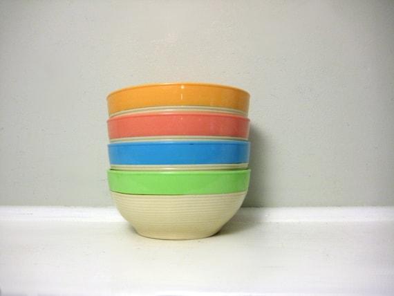 Vintage RaffiaWare Melamine Ice Cream Bowls, Mallory Randall Corp, Thermo-Temp, Retro Kitchen Plastic, Summer Snack Set, Planter Dishes