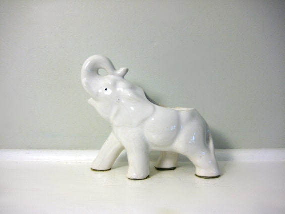Vintage Elephant Planter, Air Plant Holder White Glazed Ceramic Zoo, Circus Animal, Jungle Elephant Figurine, Neutral Office Library Decor