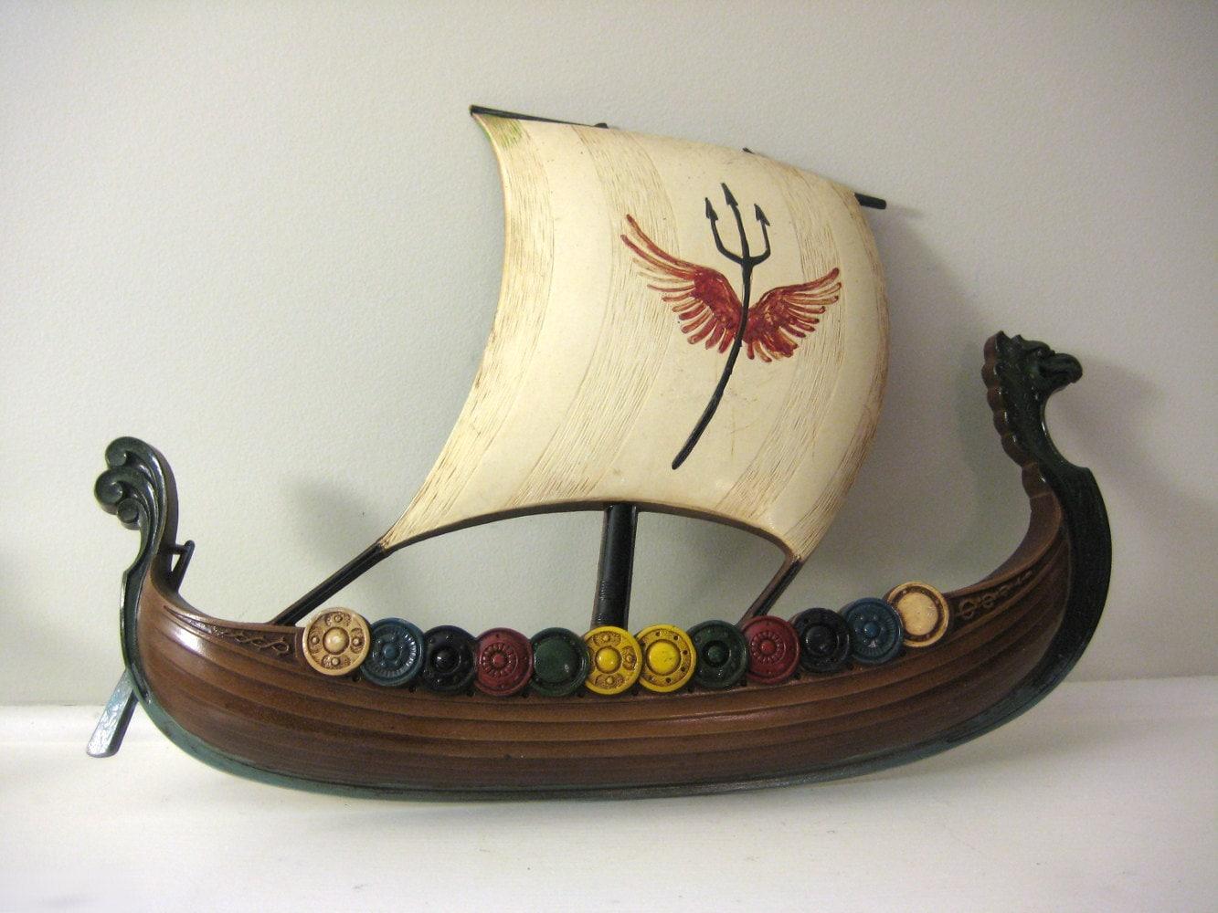 Viking Ship Wall Hanging Vintage Syroco Nautical Boat Decor