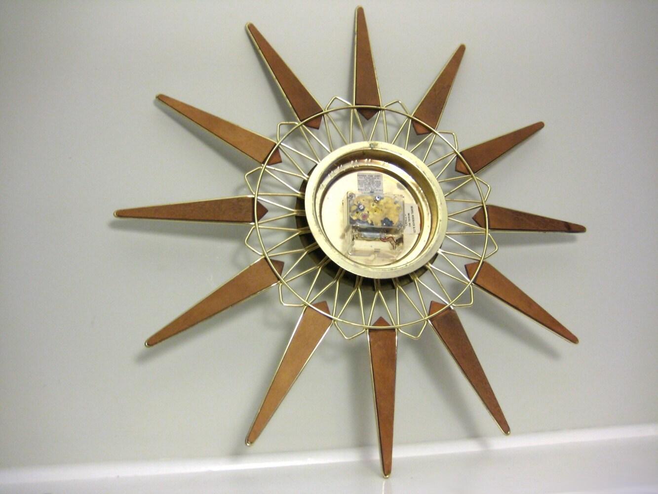 Vintage Wall Clock Retro 1960s Sunburst Clock In Teak Wood