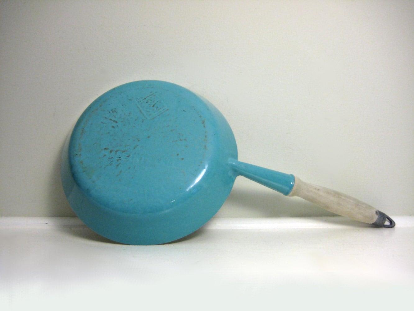 Vintage Le Creuset Skillet Pan Aqua Blue 1960s Mid Century