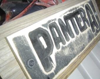 Pantera, rock band logo, wall art, thrash, heavy metal, hard rock, cowboys from hell, wooden sign, custom art,  MADE TO ORDER