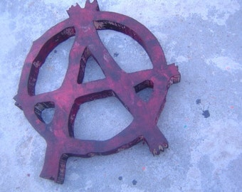 anarchy symbol, punk rock, wooden sign, custom wall art, MADE TO ORDER