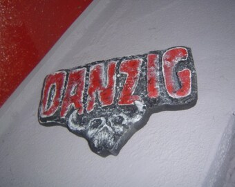 Danzig, rock music, heavy metal, wood carving, wooden logo, carved sign, mancave decoration, bar art, 3d wall art,             MADE TO ORDER