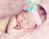 Easter dream rosette lace headband with flower vintage spring shabby chic