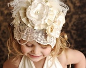 Ivory Lace Birthday Crown Bonnet with pearls flowers and pearls
