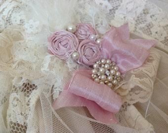 Ivory and baby pink shabby chic headband