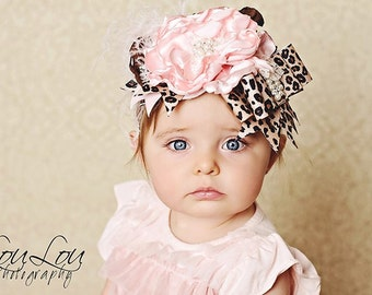 Wild about you pink and cheetah print flower headband
