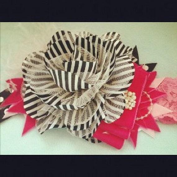 Pinstripe flower headband with hot pink velvet bow