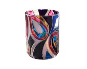 Hand Painted Glass Candle Holder Colorful Modern Abstract  Home Decor Kitchen Decor- Decorative Glass Art