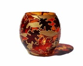 Autumn Leaves Hand Painted Candle Holder - Decorative Glass Art